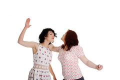 Two women fight Stock Images