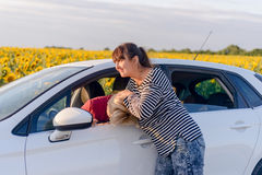 Two women fighting in a car Stock Photos