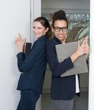 Two women with files Stock Photos