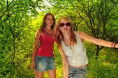 Two women in forest Royalty Free Stock Photography