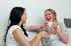 Two women friends chatting. Over coffee at home Stock Photos