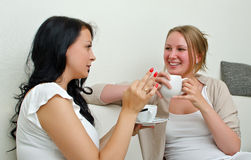 Two women friends chatting. Over coffee at home Royalty Free Stock Image