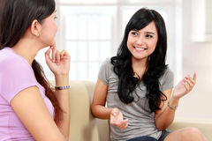 Two women friends chatting Royalty Free Stock Photography