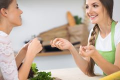 Two women friends cooking in kitchen while having a pleasure talk. Friendship and Chef Cook concept.  Royalty Free Stock Photography