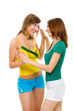 Two women friends have fun Stock Images