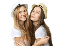 Two women friends having fun. Royalty Free Stock Photos