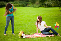 Two women, friends, outdoors  Royalty Free Stock Photography