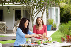 Two women friends sitting in home garden eating lunch. Portrait of two women friends sitting in home garden eating lunch stock photo