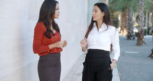 Two women friends standing chatting. Outdoors in an urban environment smiling as they share their news  upper body against an off white wall stock footage