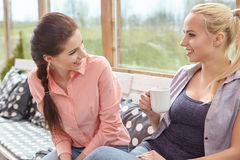 Two women friends talking holding coffee cups Stock Image