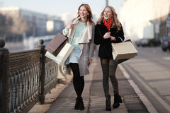 Two women friends traveling. At city Royalty Free Stock Image