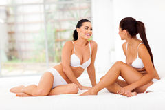 Women friends underwear Stock Photo