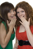 Two women with gestures astonishment. The hand in front of the mouth Royalty Free Stock Photos