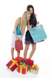 Two women with gifts. Royalty Free Stock Photography