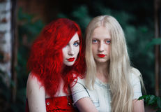 Two women, a girl with curly red hair and a woman with long straight white hair. Two women, a girl with curly red hair and a women with long straight white hair Royalty Free Stock Image
