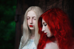 Two women, a girl with curly red hair and a woman with long straight white hair Royalty Free Stock Images