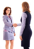 Two women give handshake after agreement Royalty Free Stock Photo