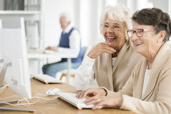 Two women with glasses. Two elder women with glasses learning how to use computer together Stock Images