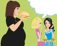 Two women gossip about their fat friend Stock Images