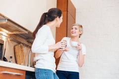 Two women gossiping on the kitchen Stock Photography