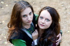 Two women with green eyes Stock Photos