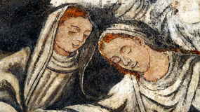Two women hand painted. Two women appears in a a paint from sixteen century in a ancient church in Malinalco mexico Stock Photography