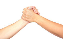 Two women hands. Photo on the white background Royalty Free Stock Photos