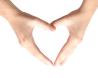 Two women hands in the shape of a heart Stock Images