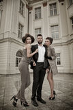 Two women and an handsome guy Royalty Free Stock Image