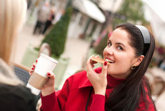 Two  women having coffee break together Stock Photography