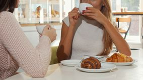 Two women having coffee with croissants at the local bakery store. Cropped shot of long haired woman enjoying morning coffee with her best friend stock footage