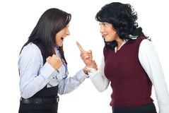 Two women having conflict. And preparing for fight isolated on white background,check also Business people Stock Photography