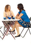 Two women having conversation at coffee. Two women having happy conversation and sitting at table in a cafe shop isolate don white background Stock Photos