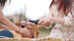 Two women having a picnic sitting on the blanket. Pouring red wine in the glasses - Tuscany stock video footage