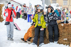 Two women are having rest after ski riding royalty free stock images