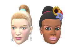 Two women heads - one of caucasian descend and one of black african descend. A computer generated illustration image of two women heads. One is of Caucasian stock illustration