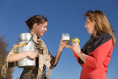 Two women with healthy food Stock Photo