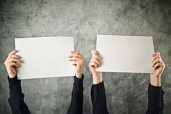 Two women holding blank paper posters Royalty Free Stock Photography