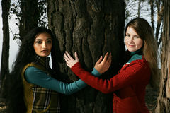 Two women holding tree Royalty Free Stock Images