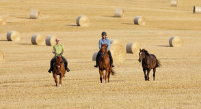 Two Women Horseback Riding in a Field Stock Photography