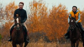 Two women on the horses backs having a good time running on the field - a dog following them - autumn