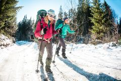 Free Two Women In A Winter Hike Stock Images - 134525714