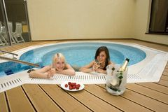Two Women In Hot Tub Stock Photo