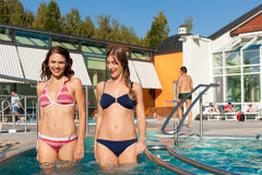 Two Women In Swimming Pool Royalty Free Stock Photos