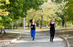 Two women jogging in a park Stock Photos