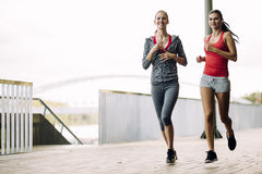 Two women jogging in park Royalty Free Stock Photos