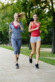 Two women jogging in park Stock Image