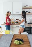 Two women in kitchen cooking talking preparing food. Two women in kitchen cooking talking preparing food Stock Photography