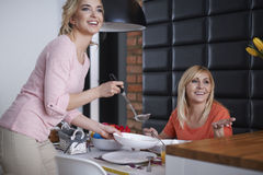 Two women in the kitchen Royalty Free Stock Image