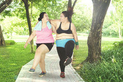 Two women laughing in the park. Picture of two overweight women laughing together while exercising in the park Royalty Free Stock Images